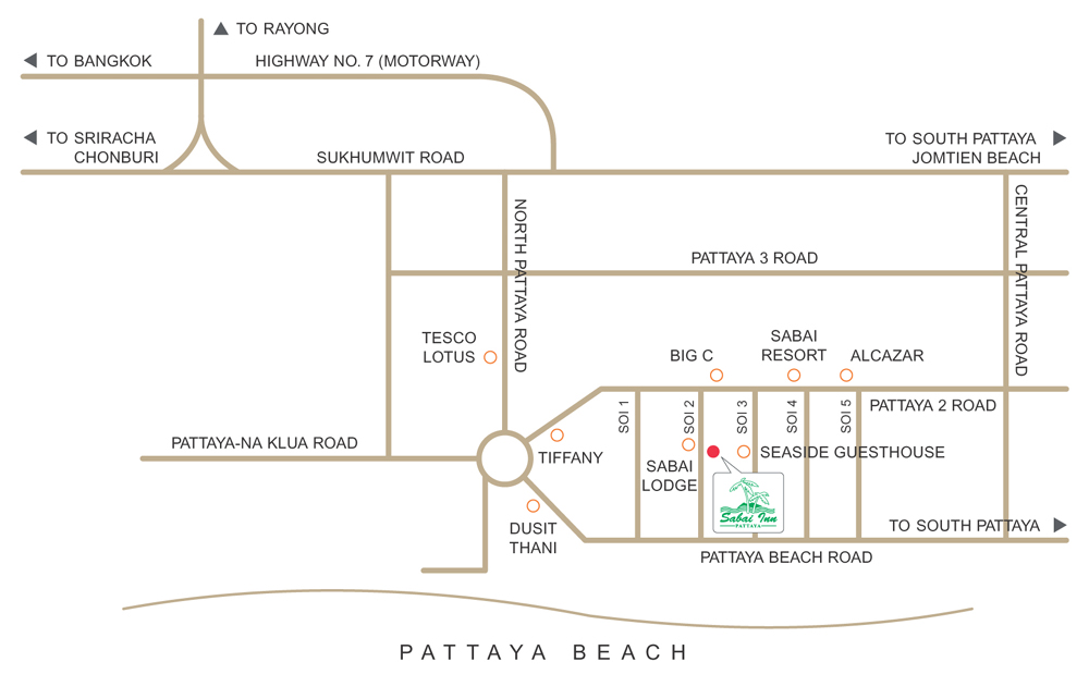 Sabai Inn Pattaya Map